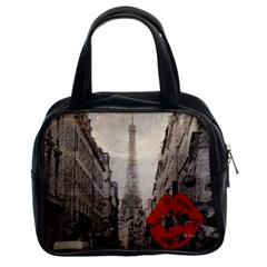 Elegant Red Kiss Love Paris Eiffel Tower Classic Handbag (two Sides)