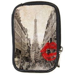 Elegant Red Kiss Love Paris Eiffel Tower Compact Camera Leather Case