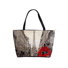 Elegant Red Kiss Love Paris Eiffel Tower Large Shoulder Bag