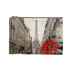 Elegant Red Kiss Love Paris Eiffel Tower Cosmetic Bag (Large)