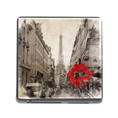 Elegant Red Kiss Love Paris Eiffel Tower Memory Card Reader with Storage (Square)