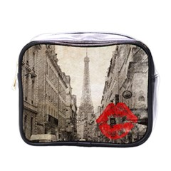 Elegant Red Kiss Love Paris Eiffel Tower Mini Travel Toiletry Bag (one Side)