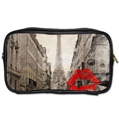 Elegant Red Kiss Love Paris Eiffel Tower Travel Toiletry Bag (Two Sides)