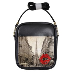 Elegant Red Kiss Love Paris Eiffel Tower Girl s Sling Bag