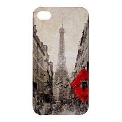 Elegant Red Kiss Love Paris Eiffel Tower Apple iPhone 4/4S Premium Hardshell Case