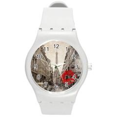 Elegant Red Kiss Love Paris Eiffel Tower Plastic Sport Watch (Medium)