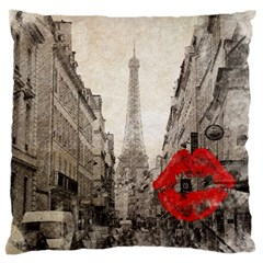 Elegant Red Kiss Love Paris Eiffel Tower Large Cushion Case (Two Sided)