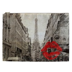 Elegant Red Kiss Love Paris Eiffel Tower Cosmetic Bag (xxl)