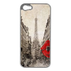 Elegant Red Kiss Love Paris Eiffel Tower Apple Iphone 5 Case (silver)