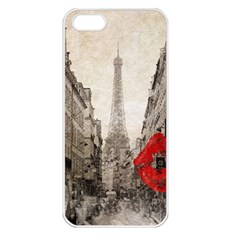 Elegant Red Kiss Love Paris Eiffel Tower Apple iPhone 5 Seamless Case (White)