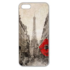 Elegant Red Kiss Love Paris Eiffel Tower Apple Seamless Iphone 5 Case (clear)