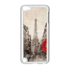 Elegant Red Kiss Love Paris Eiffel Tower Apple Ipod Touch 5 Case (white)