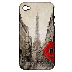Elegant Red Kiss Love Paris Eiffel Tower Apple iPhone 4/4S Hardshell Case (PC+Silicone)