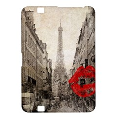 Elegant Red Kiss Love Paris Eiffel Tower Kindle Fire Hd 8 9  Hardshell Case