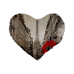 Elegant Red Kiss Love Paris Eiffel Tower 16  Premium Heart Shape Cushion