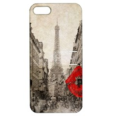 Elegant Red Kiss Love Paris Eiffel Tower Apple iPhone 5 Hardshell Case with Stand