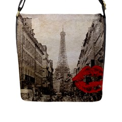 Elegant Red Kiss Love Paris Eiffel Tower Flap Closure Messenger Bag (large)
