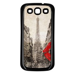Elegant Red Kiss Love Paris Eiffel Tower Samsung Galaxy S3 Back Case (Black)