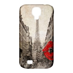Elegant Red Kiss Love Paris Eiffel Tower Samsung Galaxy S4 Classic Hardshell Case (PC+Silicone)