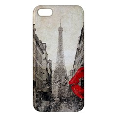 Elegant Red Kiss Love Paris Eiffel Tower iPhone 5S Premium Hardshell Case