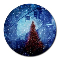 Elegant Winter Snow Flakes Gate Of Victory Paris France 8  Mouse Pad (Round)