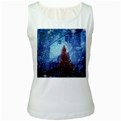 Elegant Winter Snow Flakes Gate Of Victory Paris France Womens  Tank Top (white)
