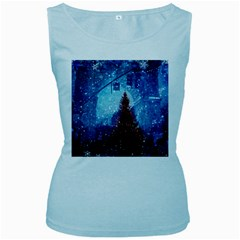 Elegant Winter Snow Flakes Gate Of Victory Paris France Womens  Tank Top (baby Blue)