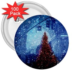 Elegant Winter Snow Flakes Gate Of Victory Paris France 3  Button (100 Pack)