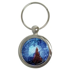 Elegant Winter Snow Flakes Gate Of Victory Paris France Key Chain (Round)