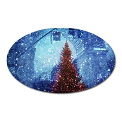 Elegant Winter Snow Flakes Gate Of Victory Paris France Magnet (Oval)