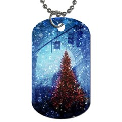 Elegant Winter Snow Flakes Gate Of Victory Paris France Dog Tag (one Sided)