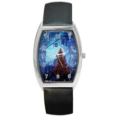 Elegant Winter Snow Flakes Gate Of Victory Paris France Tonneau Leather Watch