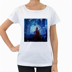 Elegant Winter Snow Flakes Gate Of Victory Paris France Womens' Maternity T-shirt (White)