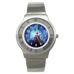 Elegant Winter Snow Flakes Gate Of Victory Paris France Stainless Steel Watch (Unisex)