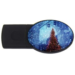 Elegant Winter Snow Flakes Gate Of Victory Paris France 4GB USB Flash Drive (Oval)