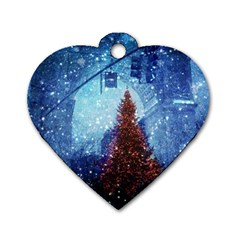Elegant Winter Snow Flakes Gate Of Victory Paris France Dog Tag Heart (One Sided)