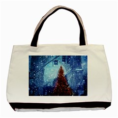 Elegant Winter Snow Flakes Gate Of Victory Paris France Twin-sided Black Tote Bag