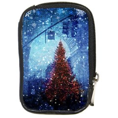 Elegant Winter Snow Flakes Gate Of Victory Paris France Compact Camera Leather Case