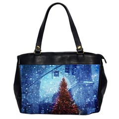 Elegant Winter Snow Flakes Gate Of Victory Paris France Oversize Office Handbag (Two Sides)