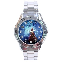 Elegant Winter Snow Flakes Gate Of Victory Paris France Stainless Steel Watch (Men s)