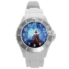 Elegant Winter Snow Flakes Gate Of Victory Paris France Plastic Sport Watch (large)