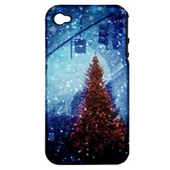 Elegant Winter Snow Flakes Gate Of Victory Paris France Apple Iphone 4/4s Hardshell Case (pc+silicone)