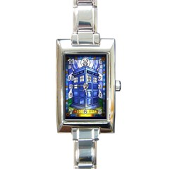 Pane Glass Tardis Rectangular Italian Charm Watch