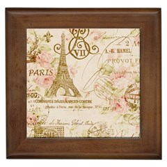 Floral Eiffel Tower Vintage French Paris Art Framed Ceramic Tile