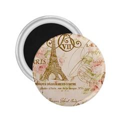 Floral Eiffel Tower Vintage French Paris Art 2.25  Button Magnet