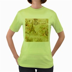 Floral Eiffel Tower Vintage French Paris Art Womens  T-shirt (Green)