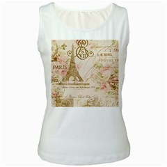 Floral Eiffel Tower Vintage French Paris Art Womens  Tank Top (white)