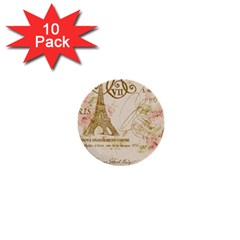 Floral Eiffel Tower Vintage French Paris Art 1  Mini Button (10 pack)