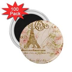 Floral Eiffel Tower Vintage French Paris Art 2 25  Button Magnet (100 Pack)