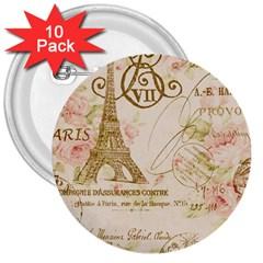 Floral Eiffel Tower Vintage French Paris Art 3  Button (10 Pack)